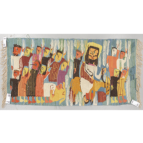 A tapestry, tapestry weave, ca 70,5 x 147,5 cm, wissa wassef's weaving school in haranya outside  cairo