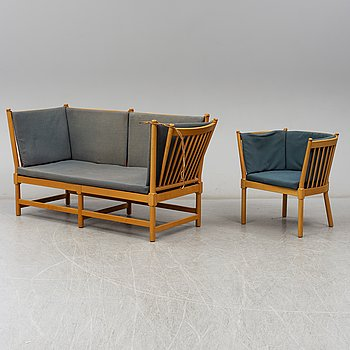 "A ""Tremme"" sofa and armchair, designed by Børge Mogensen, Fritz Hansen, second half of the 20th century."