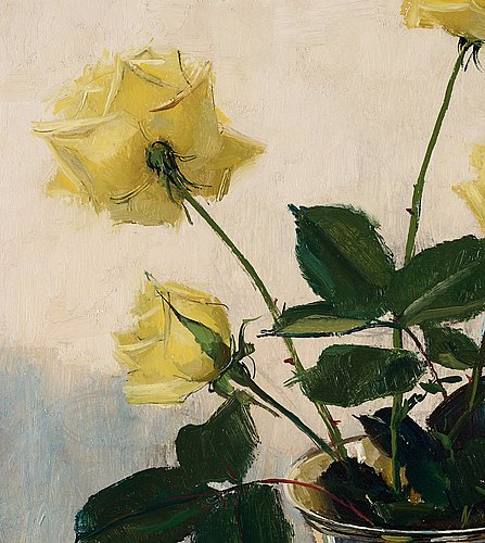 Olle hjortzberg, stillife with yellow roses.