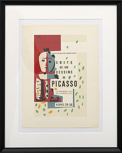 Pablo picasso, färglitografi, ur verve 29 30 1954, signerad och daterad i trycket