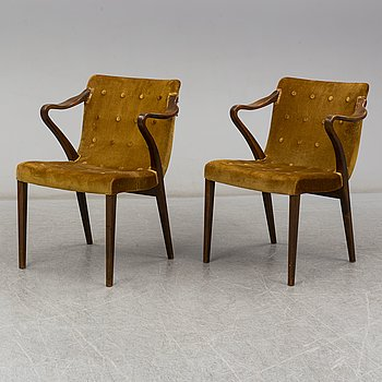 AXEL LARSSON, armchairs, a pair, Bodafors, mid 20th century.