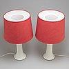 Bordslampor, ett par, glas, 1960 tal