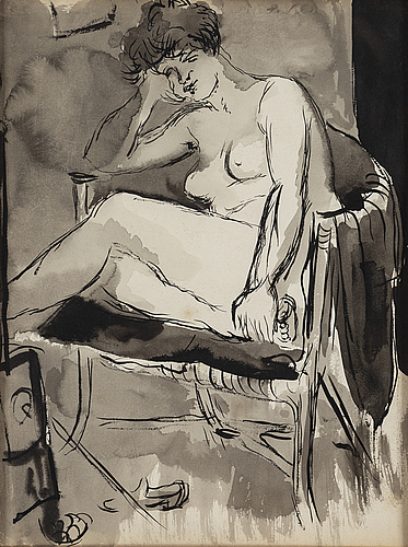 Isaac grünewald, watercolour and hightening white on paper.