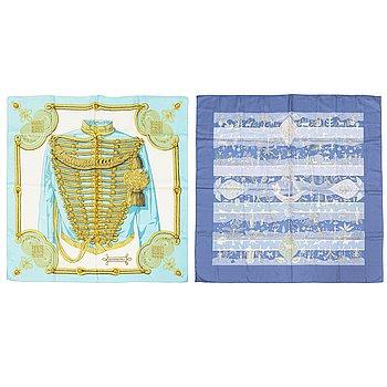 HERMÈS, two silk scarves, 'Brandebourgs' & 'Rives Fertiles'.