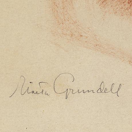 Isaac grünewald, red crayon on paper.