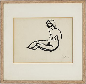 ISAAC GRÜNEWALD, Indian Ink and pencil on paper, signed Isaac.