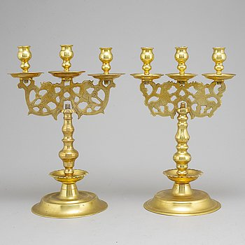 Two 19th century brass candelabra, probably Poland.