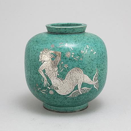 Wilhelm kÅge, an 'argenta' stoneware vase from gustavsberg