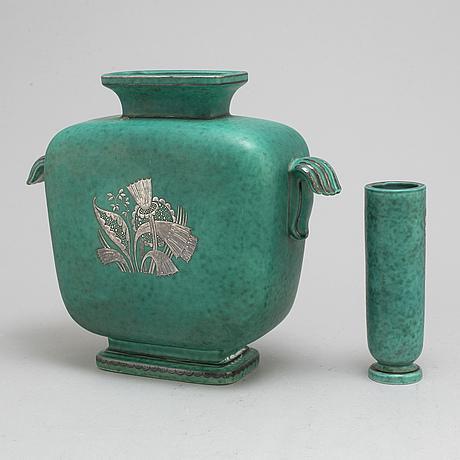 Wilhelm kÅge, two 'argenta' stoneware vases from gustavsberg.