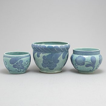 JOSEF EKBERG, three 'Sgrafitto' ceramic plant pots from Gustavsberg, 1920-1.