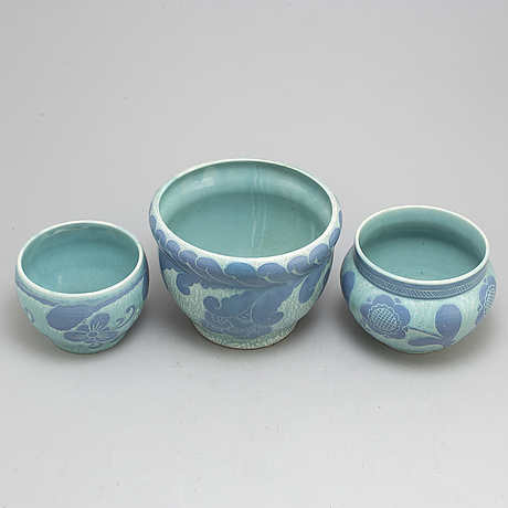 Josef ekberg, three 'sgrafitto' ceramic plant pots from gustavsberg, 1920 1