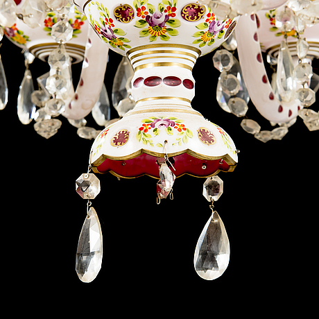 Mid 20th century glass chandelier.