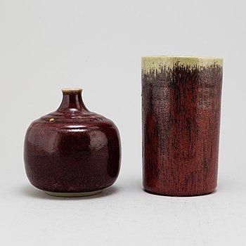 HENNING och RUDOLF NILSSON, two stoneware vases, from Höganäs, 1965-66.