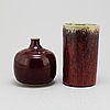 Henning och rudolf nilsson, two stoneware vases, from höganäs, 1965 66