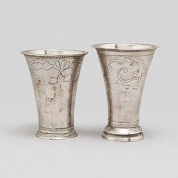 CARL FREDRIK SESEMAN and ERIK LEMON, two silver beakers, Arboga and Uppsala, 18th century, 158 gram.