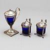 Senapskannor, 3 st. silver. bl a ett par av adolf zethelius, stockholm 1818
