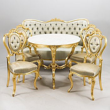 A late 19th Century 6-piece gilded furniture suite.