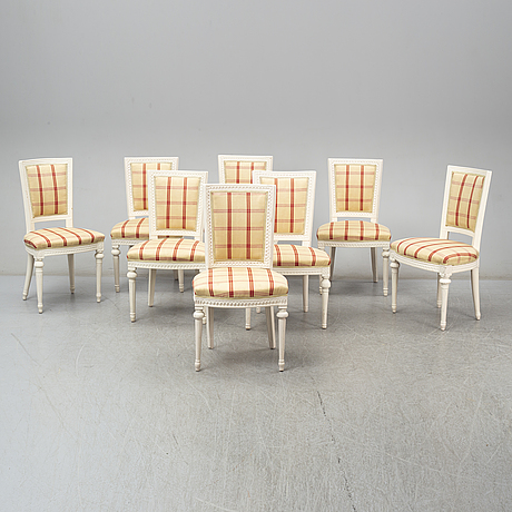 Eight similar gustavian chairs, late 18th century.