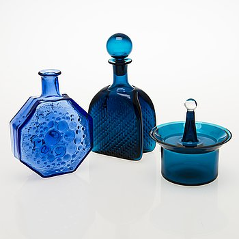 NANNY STILL, A glass sugar bowl, a decanter and a decorative bottle, Riihimäen Lasi oy, Finland 1960s.
