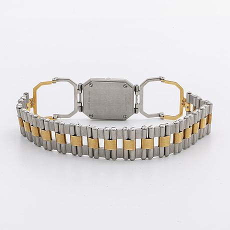 Jean d´eve up side down ladies wristwatch, steel, 18k gold, brilliant and single-cut diamonds, 20 mm, quartz.