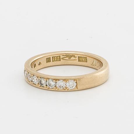 Eternity band 18k gold w 11 brillant cut diamonds approx 0,45 ct in total, goldsmith peter billsten malmö 2017
