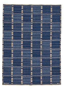 "210. Barbro Nilsson, A CARPET, ""Falurutan, blå"", flat weave, ca 233,5 x 168,5 cm, signed AB MMF BN."