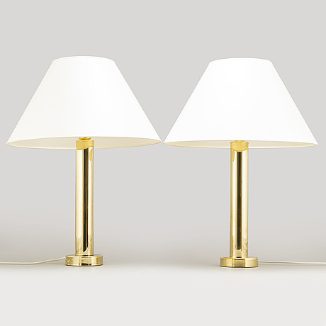A pair of brass table lights, 1960's.