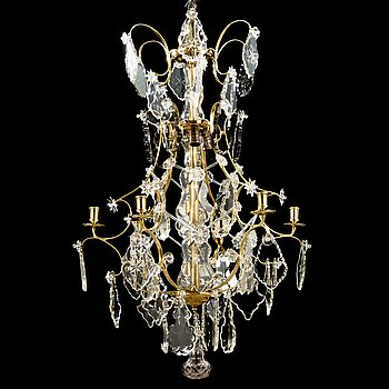 CHANDELIER, Rococo style ca 1900, for six candles, electrified.