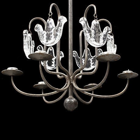 Bertil vallien, an iron and glass chandelier from boda smide