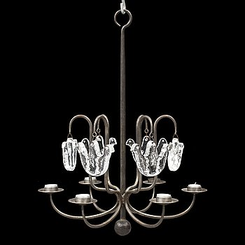 BERTIL VALLIEN, an iron and glass chandelier from Boda Smide.