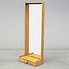 An oak framed mirror with drawer, 1960's