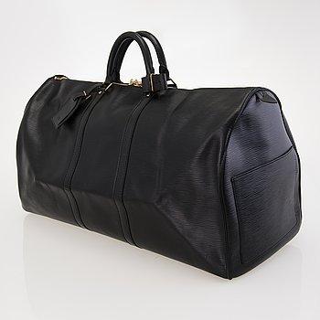 LOUIS VUITTON BLACK EPI LEATHER KEEPALL 60 TRAVEL BAG.