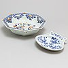 A large imari serving bowl and a blue and white export butter dish,