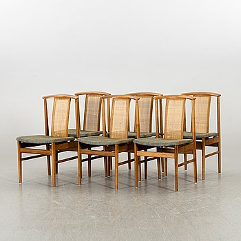 A SET OF 6 FOLKE OHLSSON DINNER CHAIRS, second half of 20th century.