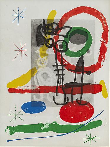 Joan mirÓ, colour lithographe, from derrière le miroir nr 151-152, 1965.