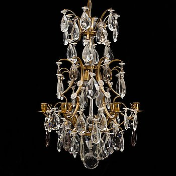 A Rococo-style six-light chandelier, second half of the 20rh century.