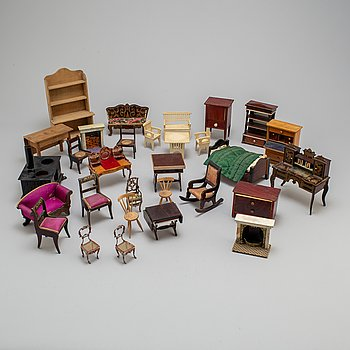 Circa 66 pieces of doll furniture with various accessories, ca 1900 and early 20th century.