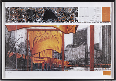 Christo & jeanne claude, offset in colours, with a collage of fabric, signed christo in pencil