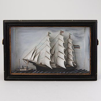 DIORAMA, ship model, early 20th century.