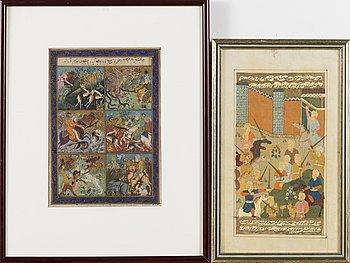 BOKILLUSTRATIONER, 2 st, gouache, Indien/Persien.