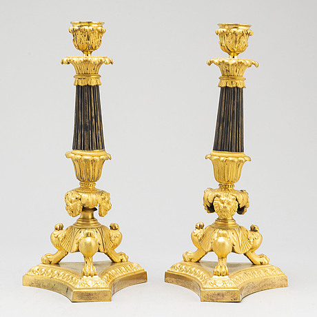 A pair of french late empire candlesticks, 19th century