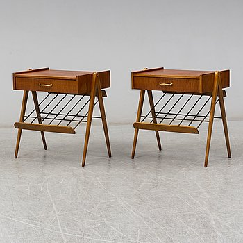 A pair of 1950s-60s teak bedside tables.