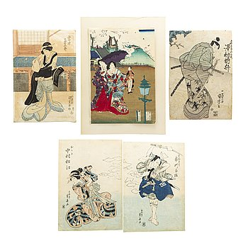 Five Japanese colored woodblock prints, including KUNIYOSHI, SHIGEHARU, KUNISADA, 19th century.