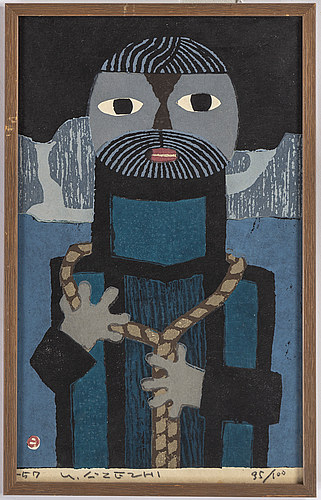 Umetaro azechi, woodcut in colours, signed, dated -57 and numbered 35/100.