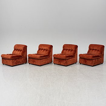A set of four 1970's easy chairs.