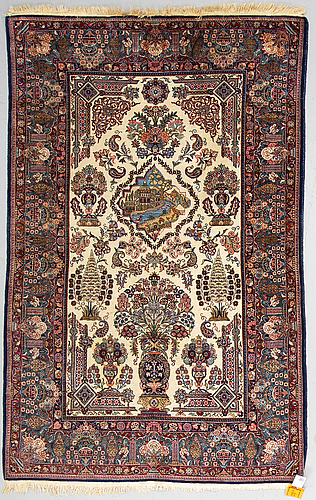 A rug, a semi antique kashan part silk, ca 207,5 x 134,5 cm (as well as one end with 1,5 cm flat weave)