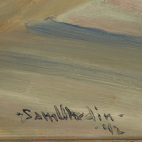 Sam uhrdin, oil on masonite, signed sam uhrdin and dated  42