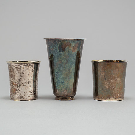 BÄgare, 3 stycken, silver, 1800 tal respektive 1900 tal