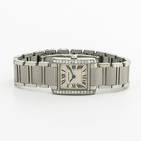 Cartier tank francaise, stål och briljanter ca 0,50 ct, 20 x 25 mm, quartz, cartier etui