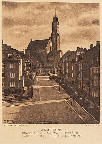 Henry b. goodwin, tre fotogravyrer, vårt vackra stockholm sign i negativet. bragevägen, floras kulle, engelbrektskyrkan.